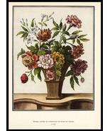 Floral Bouquet Basket Tessier Antique Botanical Print 1938 Dunthorne - $19.99