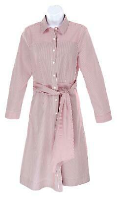 JCrew Womens Tie Waist Shirt Dress Red White Stripes Button Front Dress 14 H7791