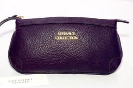 Versace Collection LPDS326 Genuine Leather Eggplant Wristlet $350 + Dust... - $2.981,93 MXN