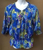 Jones New York Women's Large Paisley Abstract Shirt Top Smocked Waist Bl... - $23.30