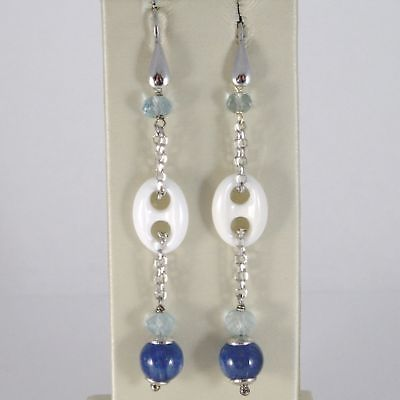 EARRINGS SILVER 925 RHODIUM WITH AQUAMARINE AGATE WHITE AND KYANITE