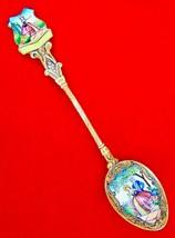 Vintage Hand Painted Enamel Courting Scene Czech Souvenir Demitasse Spoon   - $37.23