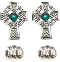Earrings Celtic Cross Emerald - Post - Sterling Silver