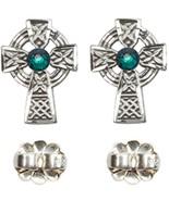 Earrings Celtic Cross Emerald - Post - Sterling Silver - $83.99