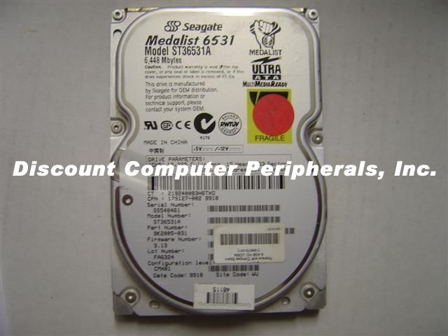 ST36531A Seagate 6.5GB 3.5in IDE 40 PIN Drive Tested Good Our Drives Work