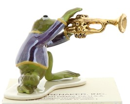 Hagen-Renaker Miniature Ceramic Frog Figurine Toadally Brass Band Trumpet Player image 3