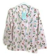 Bedhead Womens Small Pajama Shirt Pink Frida Siesta Classic Poplin Cactu... - $49.49
