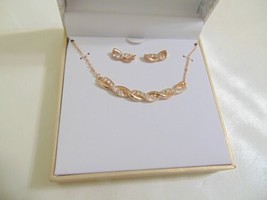 Charter Club Rose Gold Tone Pave Twist Necklace & Drop Earrings Set CL10... - $13.43