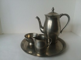 International Pewter Coffee or Tea Set with Creamer Sugar and Tray - $59.39