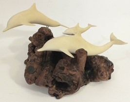 JOHN PERRY DOLPHIN SCULPTURE 3 DOLPHINS SIGNED - $33.65