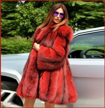 Red Hair Fox Faux Fur Hip Coat Jacket image 2