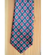 Brothers Handmade Dark Green Background, Red, Blue 100% Silk Neck Tie Ge... - $19.79