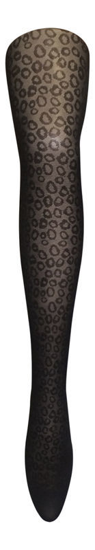 "Sock Snob Opaque 60 Denier Designer Tights size XL 46-52"" Hip Black leopard"