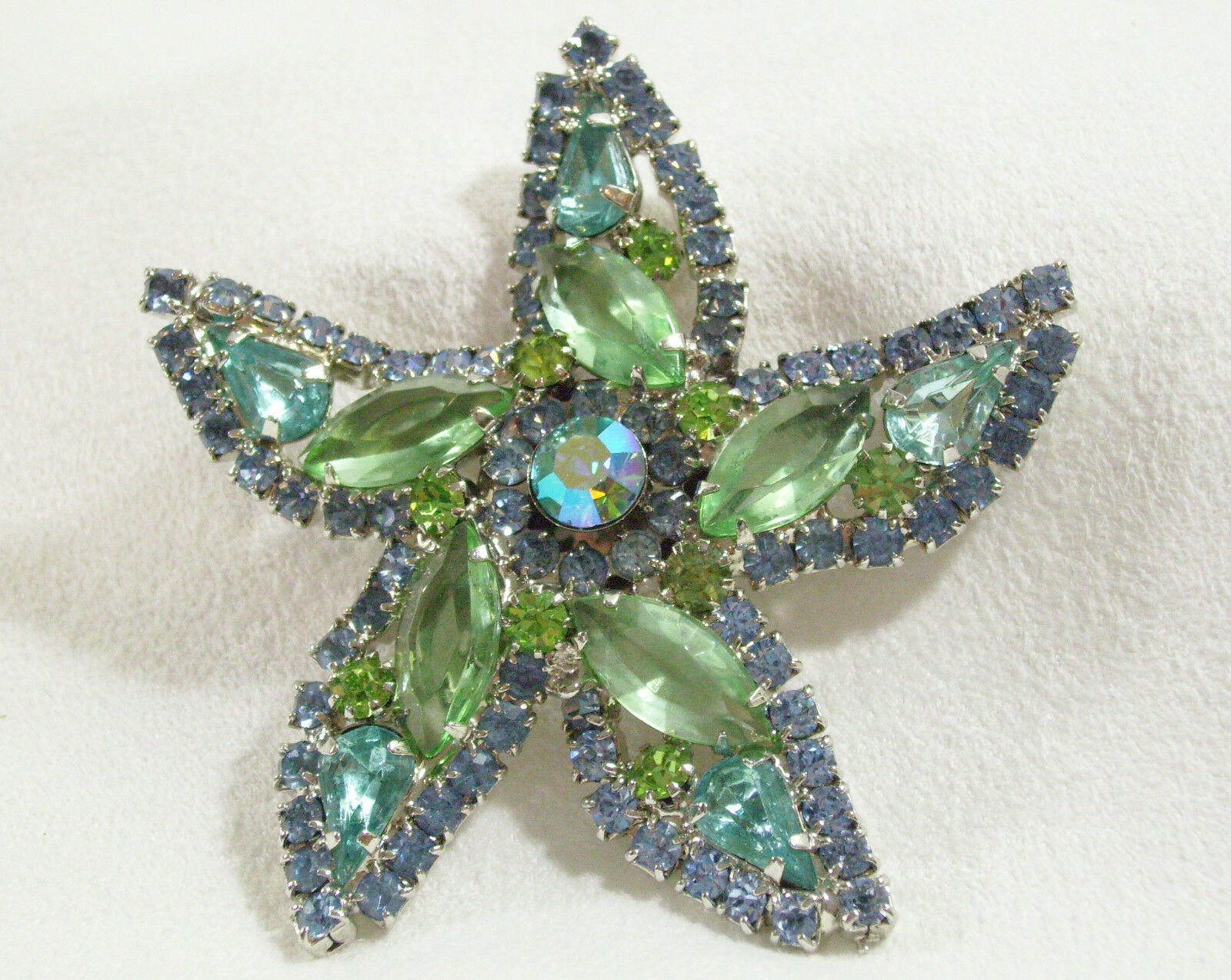 Vintage Weiss Style Golden Blue and white Rhinestone Brooch or pin