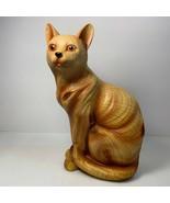 "Tabby Cat 8 1/4"" Tall Resin Wood Look Feline Kitty Kat Sitting Position Preowned - $12.86"