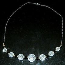 VTG Silver Tone Faceted Clear Black Cut Crystal Beaded Art Deco Choker N... - $49.50