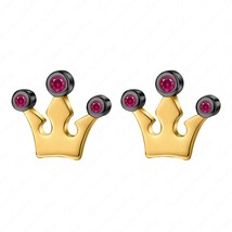 14k Two Tone Gold Finish Red Ruby Crown Stud Earrings In 925 Sterling Si... - $39.99