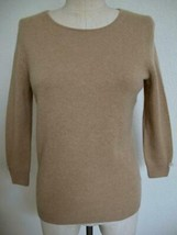 Talbots 100% Pure Cashmere Pullover Sweater S Camel Tan Keyhole Button C... - $24.99