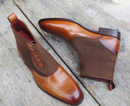 Handmade Men's Brown Leather and Tweed Brogues High Ankle Buttons Boots image 3
