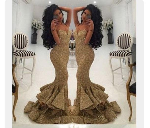 D prom dress spaghetti strap sweetheart neckline gold dress gold mermaid dress gold mermaid gown