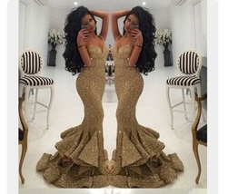 Ess spaghetti strap sweetheart neckline gold dress gold mermaid dress gold mermaid gown thumb200