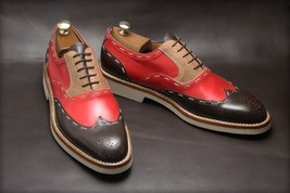 Men Custom Made Leather Brogue shoes Suede plain combo leather Top Quality Shoe - $158.30 - $168.20