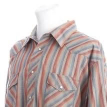 Wrangler Western Pearl Snap Shirt Gray Red Blue Orange Stripe Mens Big 3X - $19.65