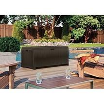 Outdoor Storage Box Patio Mocha Wicker Resin Deck Furniture Pool Yard 73... - $95.04