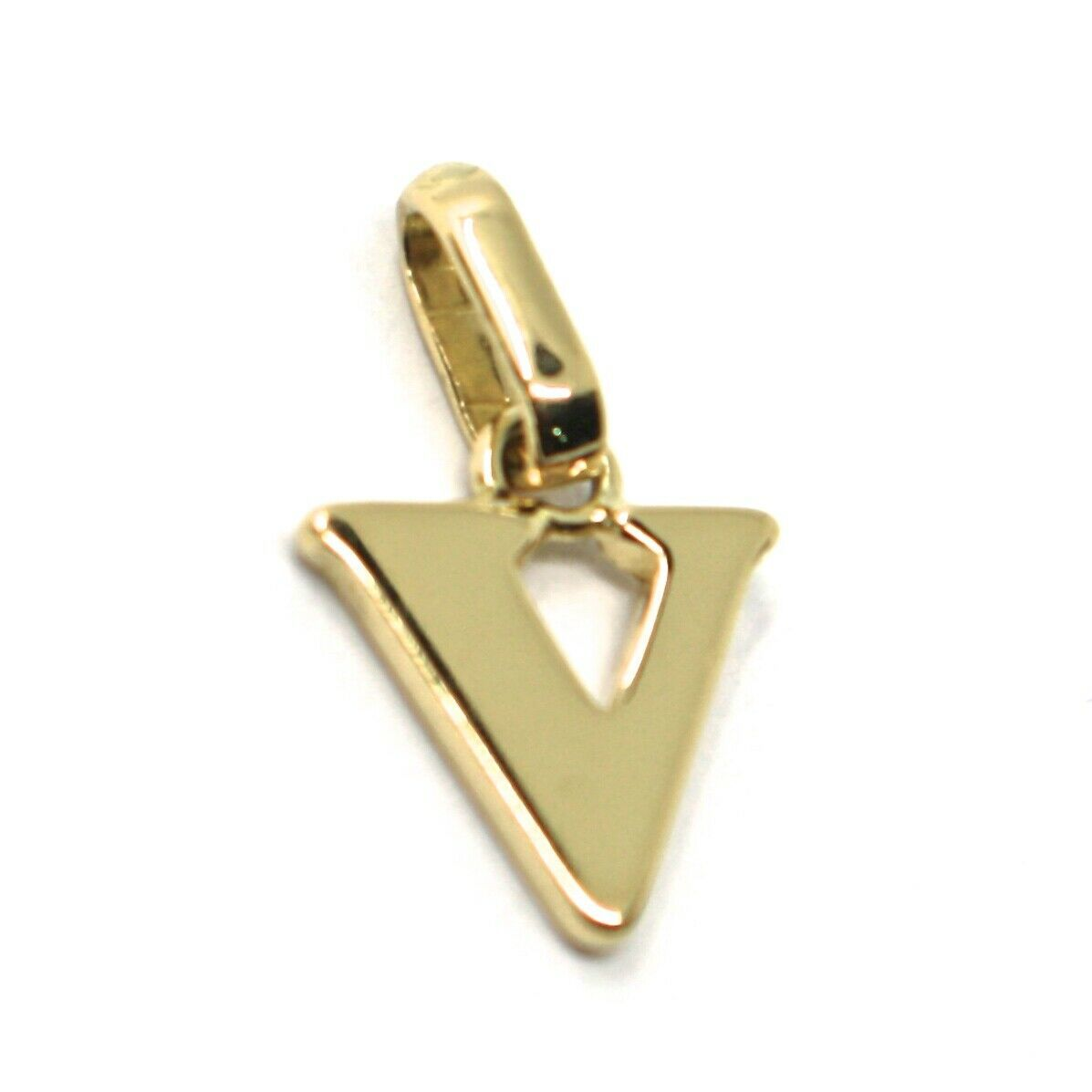 SOLID 18K YELLOW GOLD PENDANT MINI INITIAL LETTER V, 1 CM, 0.4 INCHES