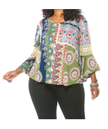 Plus size multi color boho contemporary bell sleeve top - $18.00