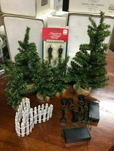 Lot Dept 56 Evergreen Trees Wood Stands + 6 Lamp Posts + Picket Fence - $24.99