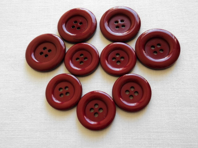 Primary image for Set of 9 Sewing Craft Large Round Red Maroon Glossy Flat Buttons-Free Shipping
