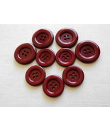 Set of 9 Sewing Craft Large Round Red Maroon Glossy Flat Buttons-Free Sh... - $8.00