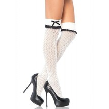 Sexy Crocheted Over The Knee High White Socks with Turn Over Cuff - $10.95