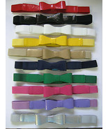 """1"""" Wide Elastic Skinny Belt With Matching Patent Leather Bow Fashion Wom... - $14.00"""