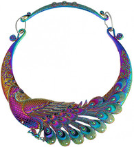 WXART Retro Carved Peacock Collar Choker Indian Exaggerated Jewelry Coll... - $34.37