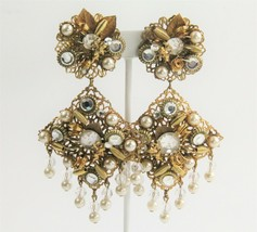 80s VINTAGE Jewelry DANGLY RUNWAY STATEMENT EARRINGS RHINESTONE FX PEARL... - $55.00