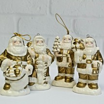 Lot of 4 Old World Gold White Santa St Nick Christmas Holiday Ceramic Or... - $19.99