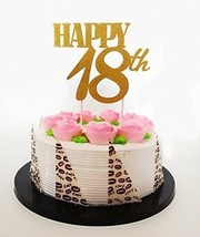 E and L Gold Glitter Happy 18th Birthday Cake Topper - Forever 18 Party... - $20.06