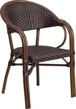 Rattan Restaurant Patio Chair with Red Bamboo-Aluminum Frame (Dark Brown... - $99.99+