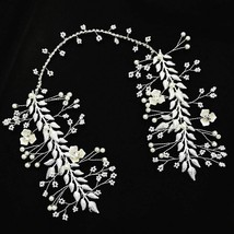 Pearl Wedding Flowers Hair Accessories Jewelry Silver Women's Fashion He... - $15.83