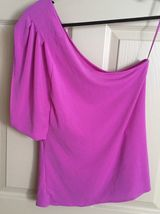 Express Women Top Blouse Size Large Pink One Shoulder One Sleeve Trendy New image 7