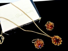 Vintage Collectible Sarah Coventry Root Beer Rhinestone NECKLACE EARRING... - $21.40