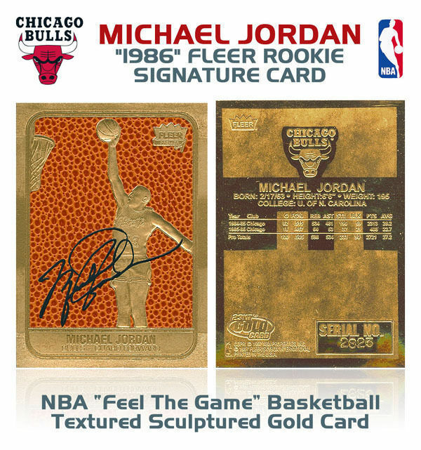 "MICHAEL JORDAN AUTOGRAPHED 1997 FLEER LIMITED ""1986 ROOKIE"" 23KT GOLD CARD"