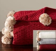 "WN Pottery Barn Faux Fur Pom Pom Knitted Throw 50x60"" Cardinal Red Blank... - $56.09"