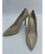 """Vince Camuto 7.5 Harty Gold Shimmer Glitter Linen Look Pumps Heels 4"""" FLAW - $19.99"""