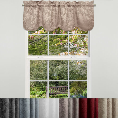"Primary image for Flora Scrolling Leaf Jacquard Scalloped Window Curtain Valance 18""x52"""