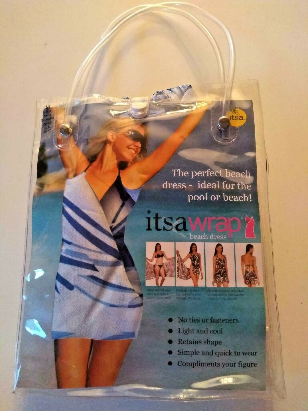 Its A Wrap Blue  Beach Dress Cover Up With Carrying Bag Size Medium