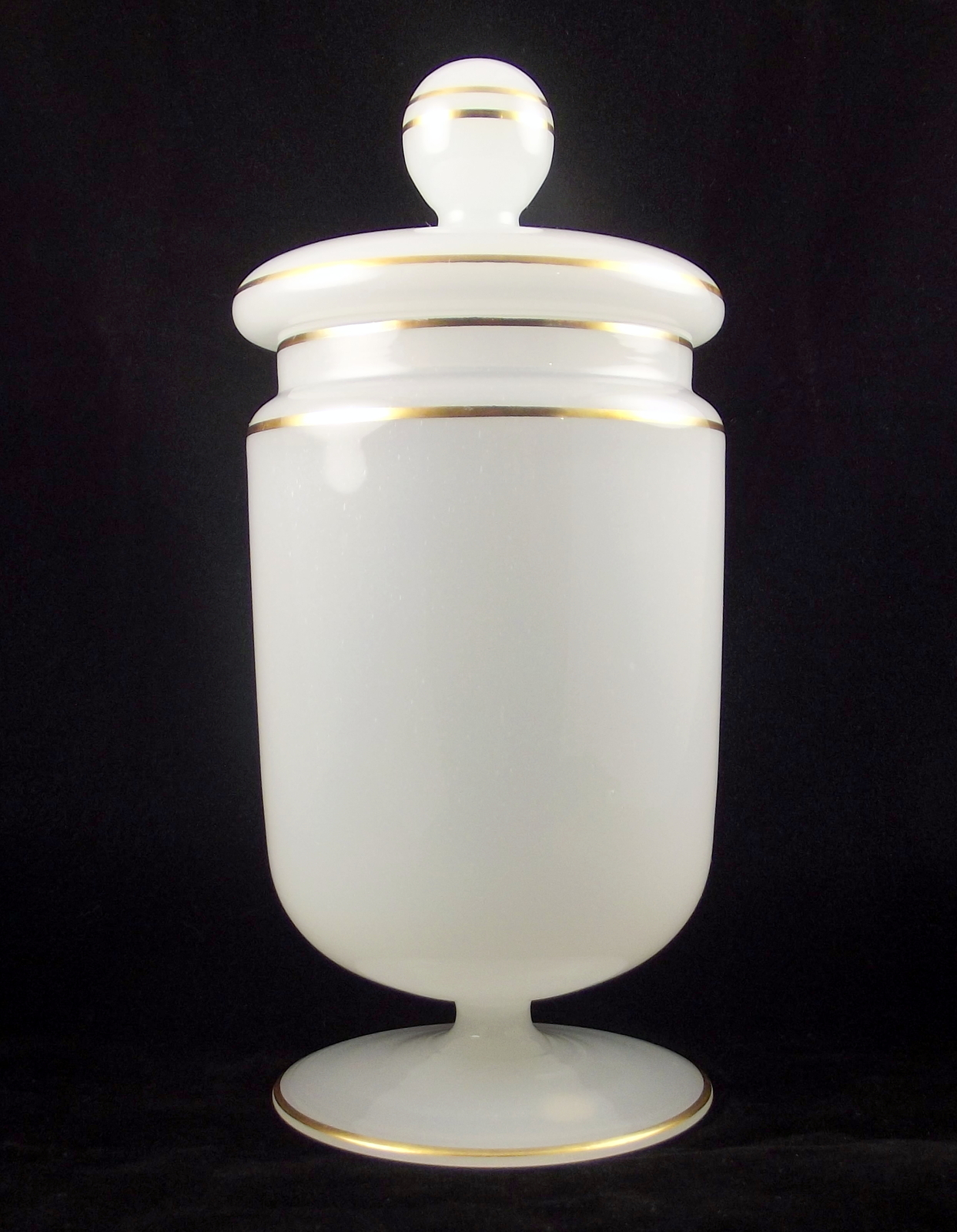 Vintage white gold opaque glass candy jar western germany 2