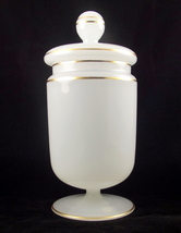 Vintage white gold opaque glass candy jar western germany 2 thumb200